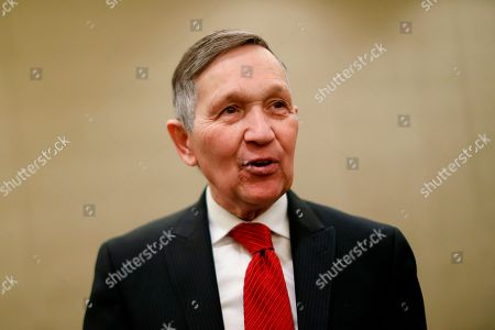 Former U.S. Rep. Dennis Kucinich speaks at a news conference after announcing his run for Ohio governor the previous day, in Cincinnati. Ohio's governor races have been heating up as early voting begins and the candidates begin the stretch drive to the May 8 primary