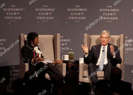 Jerome Powell, Mellody Hobson. Federal Reserve Chairman Jerome Powell, right, responds to a question from Mellody Hobson, Chair, The Economic Club of Chicago, in Chicago