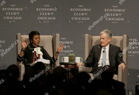 Jerome Powell, Mellody Hobson. Mellody Hobson, Chair, The Economic Club of Chicago, left, asks Federal Reserve Chairman Jerome Powell a question at the club's luncheon, in Chicago