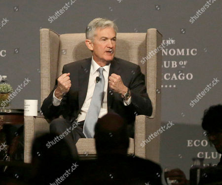 Federal Reserve Chairman Jerome Powell, responds to a question from Mellody Hobson, Chair, The Economic Club of Chicago, in Chicago