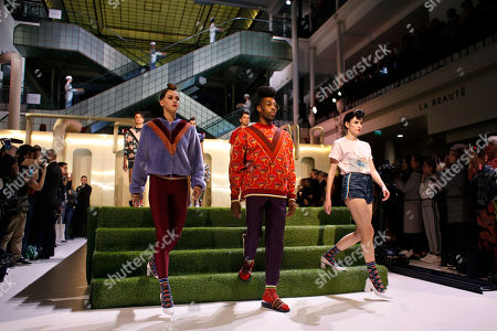 Models wear creations designed by Belgian singer Stromae and his wife Coralie Barbier for Mosaert, in Paris