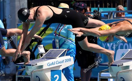 Isle of Man's Charlotte Atkinson starts in her women's 50m butterfly heat at the Aquatic Centre during the 2018 Commonwealth Games on the Gold Coast, Australia