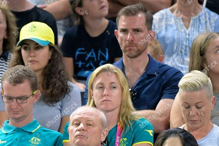 Australian hurdler Sally Pearson (C) watches on from the stands during the Women's Individual All-Around Final at Coomera Indoor Sports Centre at the XXI Commonwealth Games, on the Gold Coast, Australia, 07 April 2018.