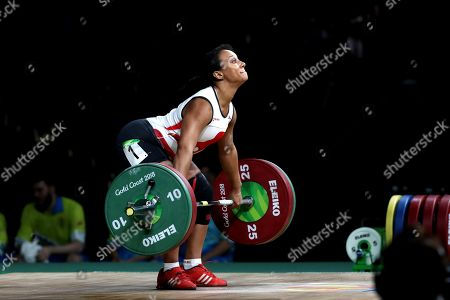 England's Zoe Smith competes in Women's 63kg Weightlifting final during Commonwealth Games in Gold Coast, Australia, . Smith won Silver medal in her category