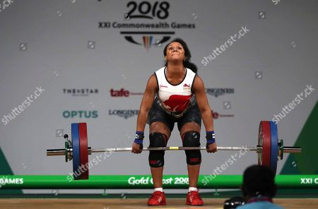 Stock Photo of England's Zoe Smith competes in Women's 63kg Weightlifting final during Commonwealth Games in Gold Coast, Australia, . Smith won Silver medal in her category