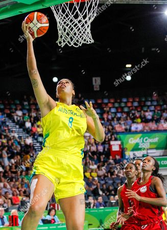 Stock Image of Elizabeth Cambage of Australia shoots for the hoop during the Womens Preliminary Round Pool A Basketball, Australia v Mozambique of the XXI Commonwealth Games at the Townsville Entertainment Centre, Townsville, Australia, 06 April 2018.