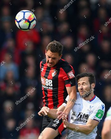 Dan Gosling of AFC Bournemouth wins a header from Yohan Cabaye of Crystal Palace during AFC Bournemouth vs Crystal Palace, Premier League Football at the Vitality Stadium on 7th April 2018
