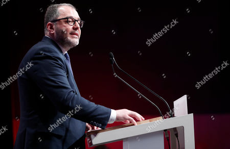 French Socialist party coordinator Rachid Temal delivers a speech during the 78th French Socialist Party congress in Aubervilliers, outside Paris, France, 07 April 2018. Party delegates held a symbolic vote to confirm Newly-elected Secretary General of the Socialist Party (PS) Olivier Faure as the new Secretary General on the opening day of the 78th socialist party congress.