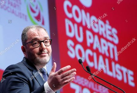 Stock Picture of French Socialist party coordinator Rachid Temal delivers a speech during the 78th French Socialist Party congress in Aubervilliers, outside Paris, France, 07 April 2018. Party delegates held a symbolic vote to confirm Newly-elected Secretary General of the Socialist Party (PS) Olivier Faure as the new Secretary General on the opening day of the 78th socialist party congress.