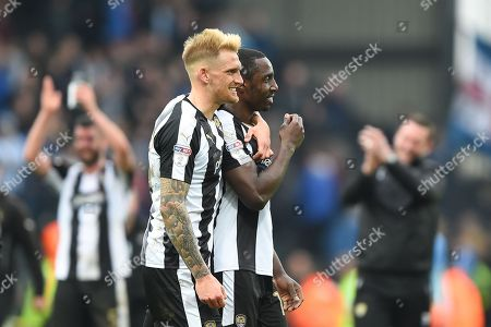 Notts County defender Daniel Jones (23) and Notts County forward Jonathan Forte (14) during the EFL Sky Bet League 2 match between Notts County and Coventry City at Meadow Lane, Nottingham. Picture by Jon Hobley