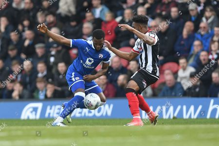Stock Image of Zavon Hines of Chesterfield and Reece Hall-Johnson of Grimsby Town