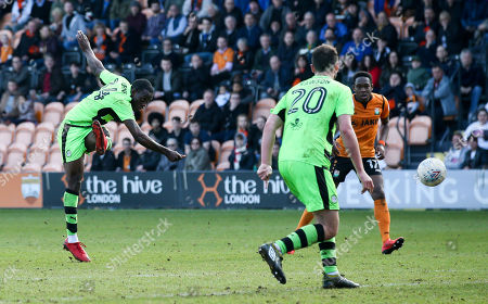 Isaiah Osbourne of Forest Green Rovers shoots from distance