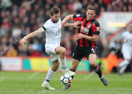 Yohan Cabaye of Crystal Palace and Dan Gosling of Bournemouth challenge
