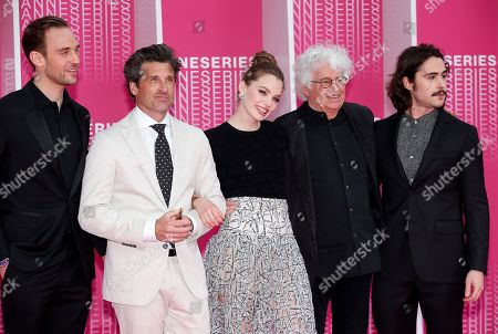 (L-R) Swiss writer Joel Dicker, US actor Patrick Dempsey, Norwegian actress and model Kristine Froseth, French director Jean-Jacques Annaud and US actor Ben Schnetzer arrive for the screening of 'The Truth About the Harry Quebert Affair' during the 1st Cannes Series Festival in Cannes, 07 April 2018. The event will take place from 04 to 11 April.