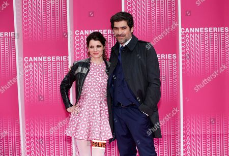 French actors Aurore Erguy (L) and Abdelhafid Metalsi (R) arrive for the screening of 'The Truth About the Harry Quebert Affair' during the 1st Cannes Series Festival in Cannes, 07 April 2018. The event will take place from 04 to 11 April.