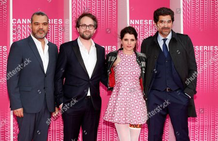 (L-R) French producers Lionel Olenga, Stéphane Drouet, French actors Aurore Erguy and Abdelhafid Metalsi arrive for the screening of 'The Truth About the Harry Quebert Affair' during the 1st Cannes Series Festival in Cannes, 07 April 2018. The event will take place from 04 to 11 April.
