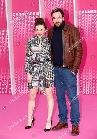 Stock Image of French actors Anne-Elisabeth Blateau (L) and David Mora (R)arrive for the screening of 'The Truth About the Harry Quebert Affair' during the 1st Cannes Series Festival in Cannes, 07 April 2018. The event will take place from 04 to 11 April.