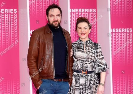 Stock Photo of French actors Anne-Elisabeth Blateau (R) and David Mora (L) arrive for the screening of 'The Truth About the Harry Quebert Affair' during the 1st Cannes Series Festival in Cannes, 07 April 2018. The event will take place from 04 to 11 April.