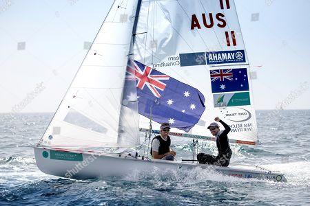 Australian Matthew Belcher and William Ryan celebrate after winning 470 class during the  49th FX SAR Princesa Sofia trophy held at the Palma de Mallorca bay, Balearic Islands, Spain, 06 April 2018.
