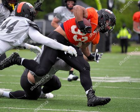 Brandon Johnson #33 on the East roster of the NFL Spring League in action vs the West at Kelly Reeves Stadium Austin Texas