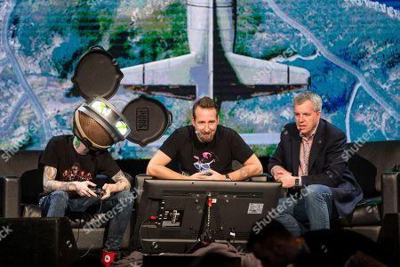 Stock Image of Deadmau5, from left, PUBG Creative Director Brendan Greene (PlayerUnknown) and Xbox Live's Major Nelson (Larry Hyrb) at the PAX East Xbox Live Sessions at the Boston Convention and Exhibition Center on in Boston