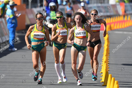 Stock Photo of (L-R) Jemima Montag, Claire Tallent, Beki Smith of Australia and Alana Barber of New Zealand lead the field during the Women's 20km Race Walk final of Athletics competition at the XXI Commonwealth Games at Currumbin Beachfront on the Gold Coast, Australia, 08 April 2018.