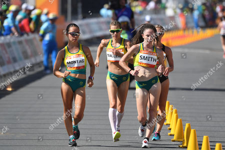 (L-R) Jemima Montag, Claire Tallent, Beki Smith of Australia and Alana Barber of New Zealand lead the field during the Women's 20km Race Walk final of Athletics competition at the XXI Commonwealth Games at Currumbin Beachfront on the Gold Coast, Australia, 08 April 2018.