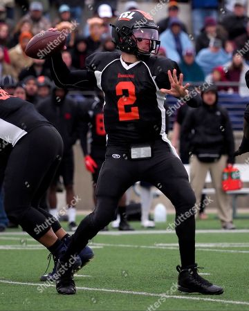 Johnny Manziel #2 of the South on the NFL Spring League in action vs the North at Kelly Reeves Stadium Austin Texas