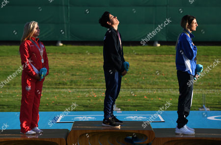 Andri Eleftheriou (C) of Cyprus (gold), Amber Hill (L) of England (silver) and Andreou Panagiota of Cyprus are seen during the medal ceremony for the women's skeet final event on day one of the shooting competition at the XXI Commonwealth Games in Brisbane, Australia, 08 April 2018.