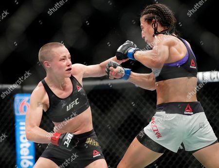 Rose Namajunas, Joanna Jedrzejczyk. Rose Namajunas, left, punches Poland's Joanna Jedrzejczyk during the fifth round of a women's strawweight title bout at UFC 223 early, in New York. Namajunas won the bout