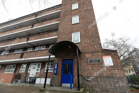 Stock Image of Reardon House in Wapping, Tower Hamlets, where it is alleged that a local election candidate was beaten over the head by a gang armed with a metal pole while he was out canvassing. Abdullah Al Mamun, a candidate for the Independent Aspire Party who is running for councillor, says he was knocking on a door on the landing of Reardon House on Friday 6th April at about 5pm when he was repeatedly struck over back of the head with a metal pole resulting in major trauma and injury to his head requiring hospital treatment and ten stitches. The Aspire Party is led by Ohid Ahmed, the former deptuty to former Mayor of Tower Hamlets, Lutfur Rahman.