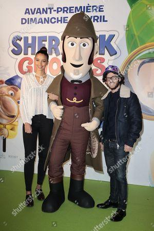 Flora Coquerel and Michael Gregorio attend at Gaumont Opera, Sherlock Gnomes Avant Premiere