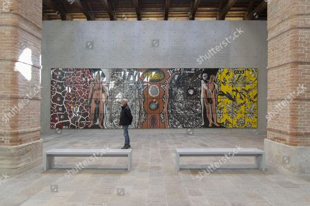 Stock Picture of A visitor looks on the work 'Blood Tears Spunk Piss' by Gilbert & George (Italian-British art duo Gilbert Proesch and George Passmore) at the 'Dancing with myself' exhibition at the Punta della Dogana Gallery at the Palazzo Grassi in Venice, Italy, 08 April 2018. The collective exhibition of 145 artworks from Pinault Collection and the Folkwang Museum in Essen is open to the public to 16 December 2018.
