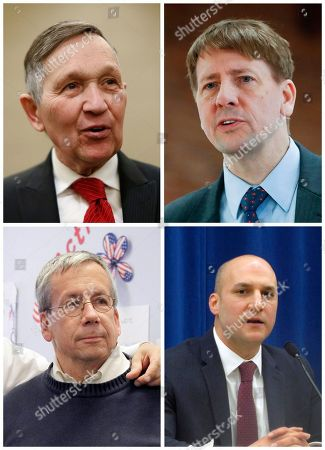 S shows, clockwise from left to right, former U.S. Rep. Dennis Kucinich of Ohio; Richard Cordray, former federal consumer protection chief; William O'Neill, former Ohio Supreme Court Justice; and Ohio state Sen. Joe Schiavoni. Ohio's governor races have been heating up as early voting begins and the candidates begin the stretch drive to the May 8 primary. Voter registration for the primary ends, and voting opens Tuesday to choose the Democratic and Republican nominees for the Nov. 6 general election to succeed second-term Republican Gov. John Kasich