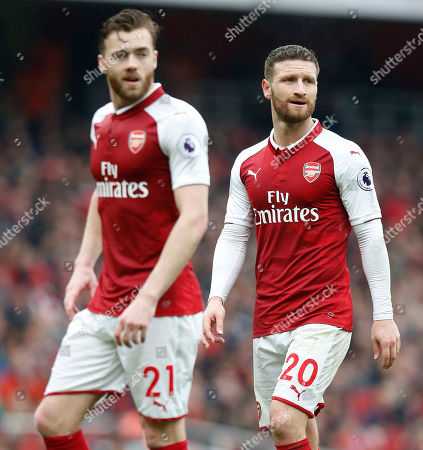 Arsenal defenders Shkodran Mustafi (right) and Calum Chambers