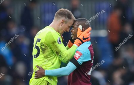 Joe Hart and Patrice Evra of West Ham United celebrate after final whistle