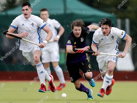 Three Rock Rovers vs Pembroke Wanderers . Rovers? Ben Walker and Kirk Shimmins of Wanderers
