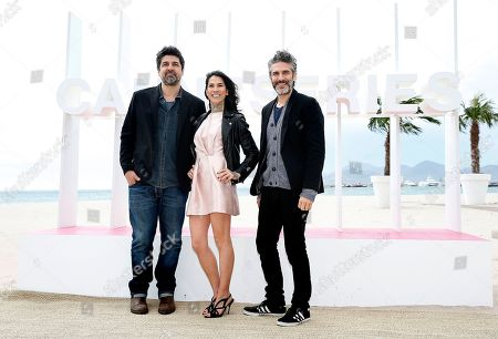 Spanish director Cesc Gay (L), Spanish actress Mi Hoa Lee (C) and Argentinian actor Leonardo Sbaraglia (R) pose during the photocall for the TV series 'Felix' at the 1st Cannes Series Festival in Cannes, 08 April 2018. The event will take place from 04 to 11 April.