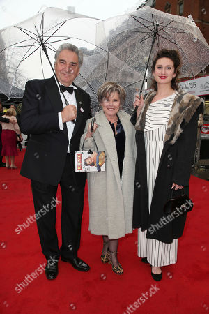Jim Carter, Imelda Staunton, Bessie Carter. Jim Carter, Imelda Staunton and their daughter Bessie Carter pose for photographers upon arrival at the Olivier Awards in London