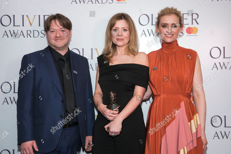 Gary Owen and Rachel O'Riordan accept the award for Outstanding Achievement in an Affiliate Theatre, presented by Anne-Marie Duff