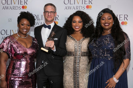 Stock Image of Nevin Steinberg accepts the award for Best Sound Design, presented by Moya Angela, Marisha Wallace and Karen Mav