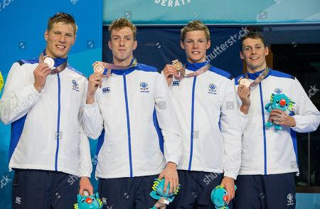 Day 4 Swimming Mens Relay Stephen Milne, Mark Szaranek, Duncan Scott, Dan Wallace. Bronze medalists