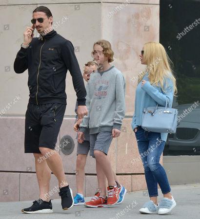 Zlatan Ibrahimovic, Helena Seger and children Maximilian Ibrahimovic and Vincent Ibrahimovic