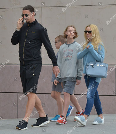Stock Picture of Zlatan Ibrahimovic, Helena Seger and children Maximilian Ibrahimovic and Vincent Ibrahimovic