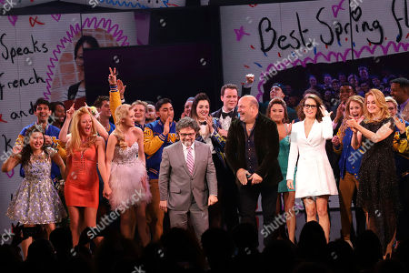 """Riza Takahashi, Kate Rockwell, Taylor Louderman, Jeff Richmond, Casey Nicholaw, Ashley Park, Tina Fey, Nell Benjamin. Riza Takahashi, from front left, Kate Rockwell, Taylor Louderman, Jeff Richmond, Casey Nicholaw, Ashley Park, Tina Fey and Nell Benjamin participate in the curtain call for the """"Mean Girls"""" opening night on Broadway at the August Wilson Theatre, in New York"""