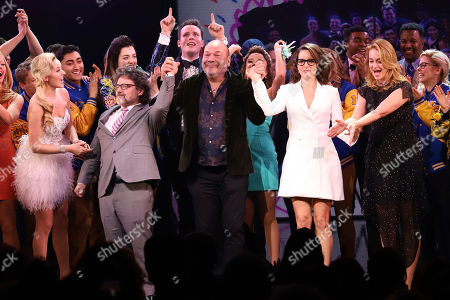 """Taylor Louderman, Jeff Richmond, Casey Nicholaw, Tina Fey, Nell Benjamin. Taylor Louderman, from front left, Jeff Richmond, Casey Nicholaw, Tina Fey and Nell Benjamin participate in the curtain call for the """"Mean Girls"""" opening night on Broadway at the August Wilson Theatre, in New York"""