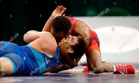 Editorial image of Freestyle World Cup Wrestling, Iowa City, USA - 08 Apr 2018