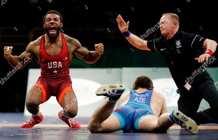 Editorial photo of Freestyle World Cup Wrestling, Iowa City, USA - 08 Apr 2018