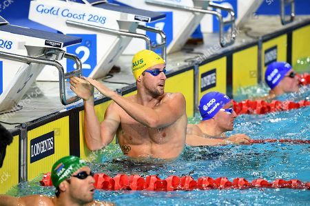 James Magnussen of Australia looks on after swimming in the Men's 50m Freestyle Semifinal of the XXI Commonwealth Games at Gold Coast Aquatic Centre on the Gold Coast, Australia, 09 April 2018.
