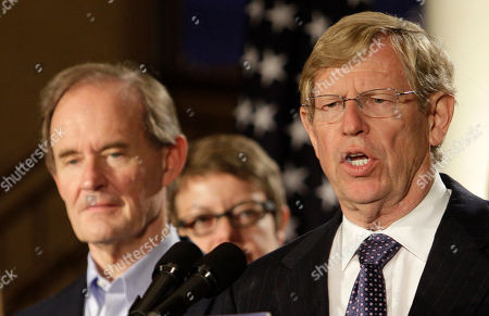 Attorney Theodore Olson, right, speaks next to attorney David Boies at a news conference in San Francisco, . A federal judge overturned California's same-sex marriage ban Wednesday in a landmark case that could eventually land before the U.S. Supreme Court to decide if gays have a constitutional right to marry in America